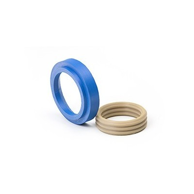 PEEK printed seal rings in natural and blue