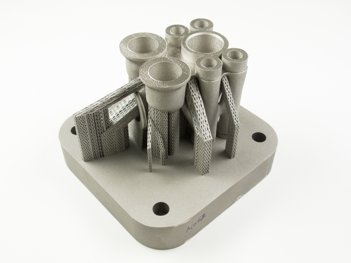 This print is supported by angled support structures