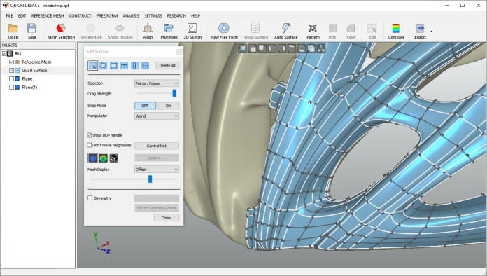Quicksurface Free Form Surface Modelling