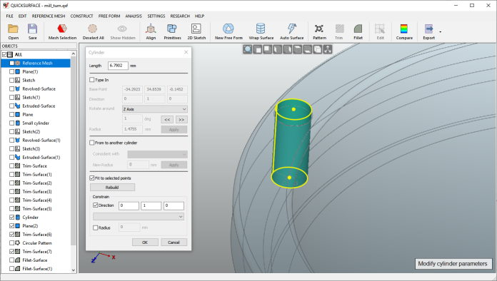 Quicksurface Full parametric modelling