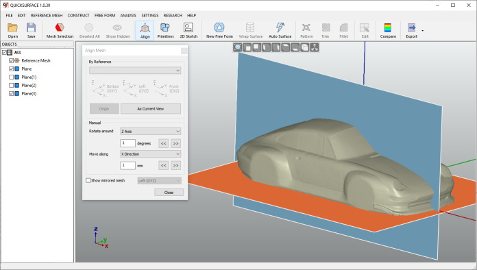 Quicksurface orient the reference mesh