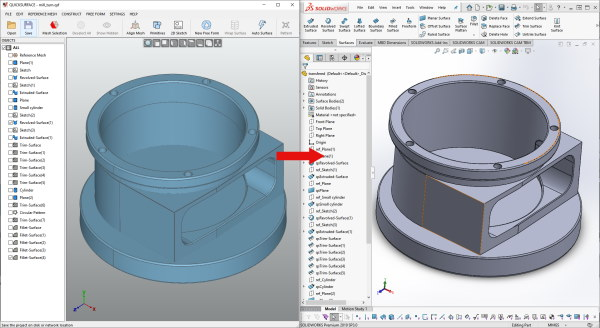 Quicksurface Solidworks integration