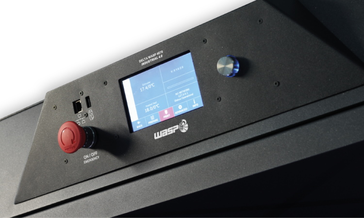 View of Delta Wasp 4070 front panel and touchscreen